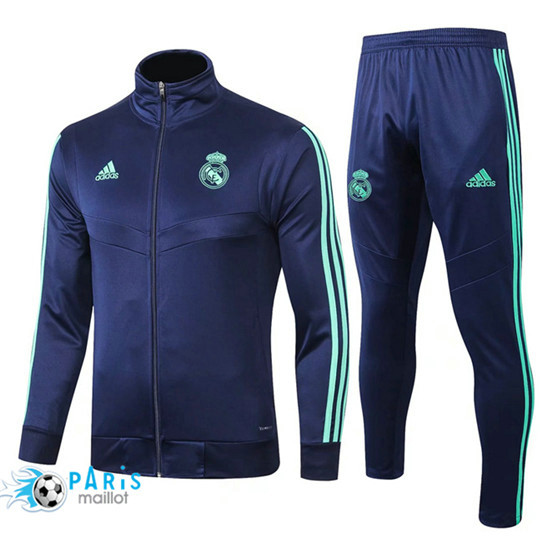 Maillotparis Nouveau Ensemble Real Madrid Veste Survetement Bleu Marine 2019/20