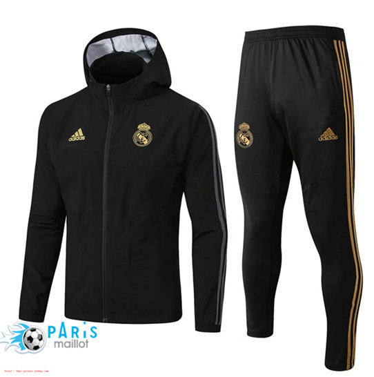 Maillotparis Nouveau Ensemble Real Madrid Coupe vent Noir à Capuche 2019/20