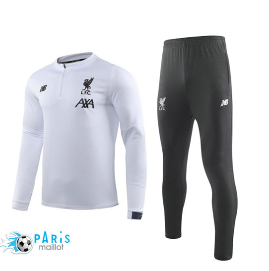 Maillotparis Nouveau Ensemble Liverpool Survetement Blanc/Noir 2019/20 Col Rond sweat zippé