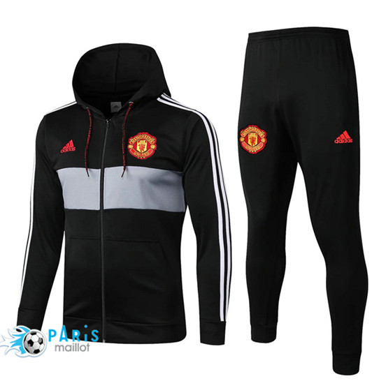 Maillotparis Nouveau Ensemble Manchester United Veste Survetement Noir à Capuche 2019/20