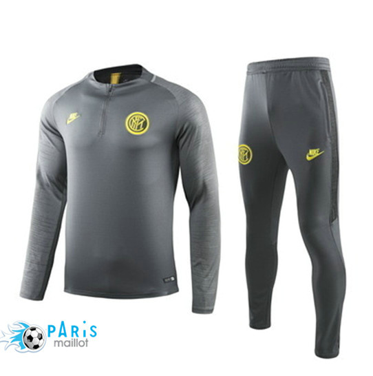 Maillotparis Nouveau Ensemble Inter Milan Survetement Gris 2019/20 Col Rond sweat zippé
