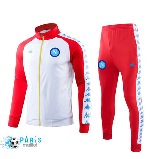 Maillotparis Nouveau Ensemble Naples Veste Survetement Blanc/Rouge 2019/20