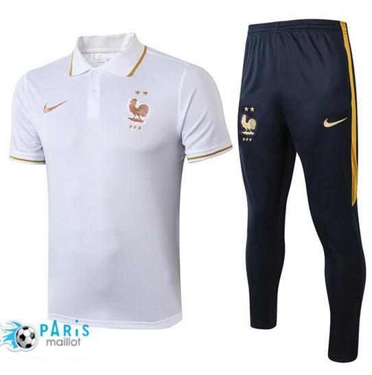 Maillotparis Nouveau Ensemble POLO Training France + Pantalon Blanc/Bleu Marine