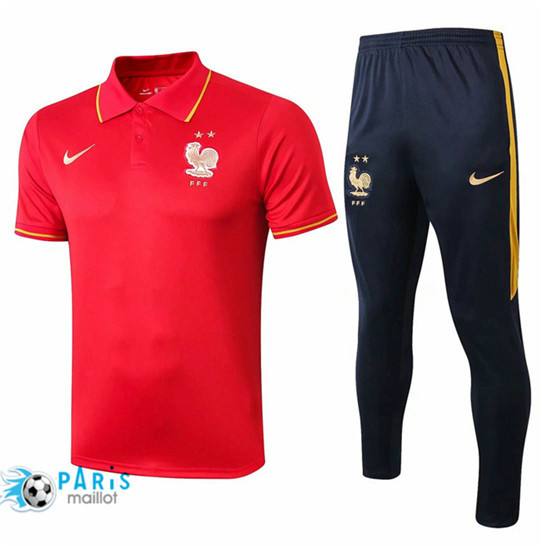 Maillotparis Nouveau Ensemble POLO Training France + Pantalon Rouge/Bleu Marine