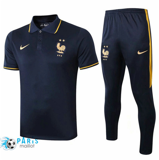 Maillotparis Nouveau Ensemble POLO Training France + Pantalon Bleu Marine