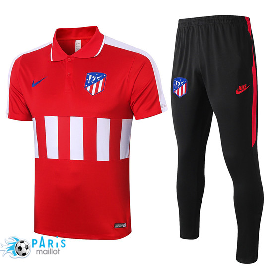 Maillotparis Nouveau Maillot Training POLO Atletico Madrid + Pantalon Rouge/Blanc 2020/21