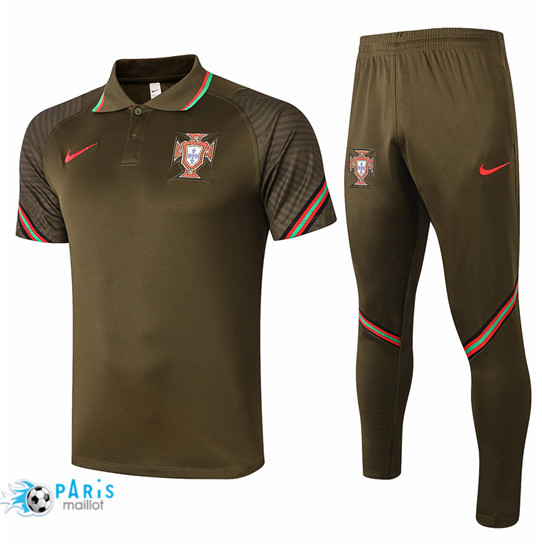 Maillotparis Nouveau Maillot Training Polo Portugal + Pantalon Noir 2020/21